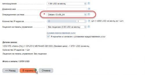 Выбираем Debian-10x86_64
