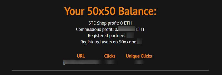 Статистика партнёрской программы 50x50